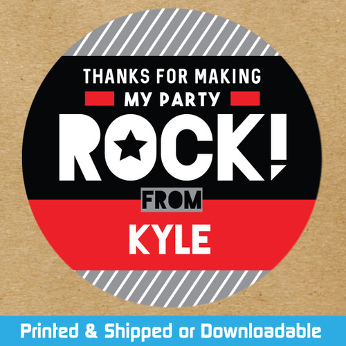 Personalized Party Favor Stickers: Red Rockstar