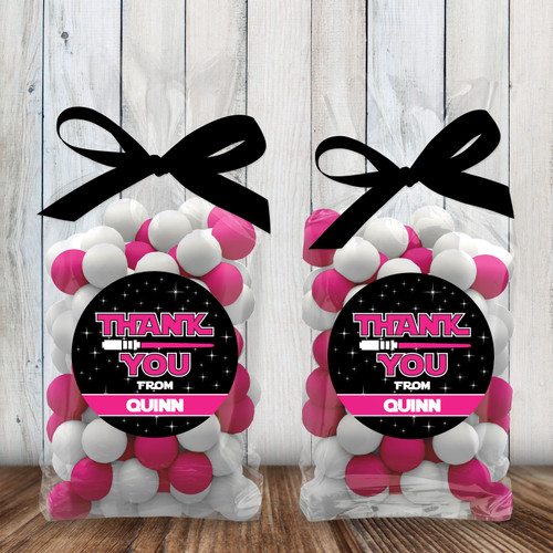 Personalized Party Favor Stickers: Jedi Pink