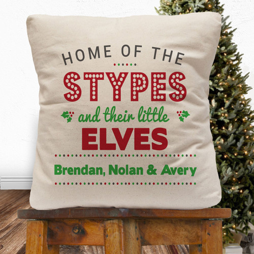Personalized Little Elves Throw Pillow Cover