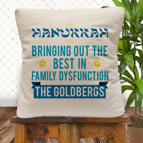 Personalized Family (Dys)Functions Throw Pillow Cover: Hanukkah