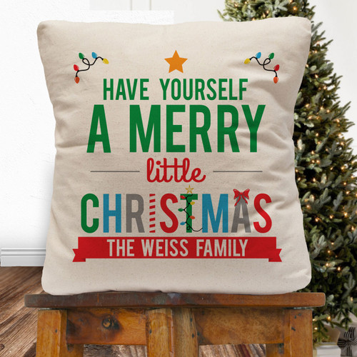 Personalized Have Yourself A Merry Little Christmas Throw Pillow Cover