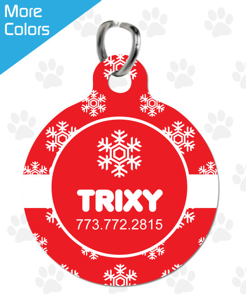 Personalized Pet Tag: Snowflake Round