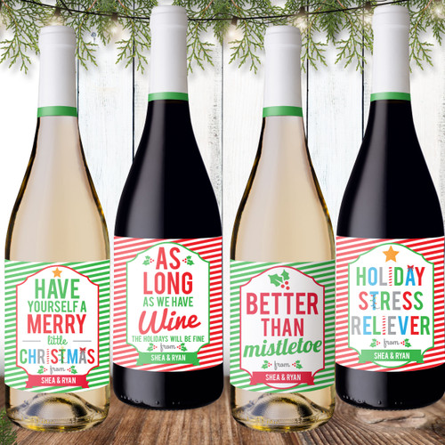 Personalized Christmas Wine Labels - Custom Christmas Wine Bottle Stickers - Funny Holiday Wine Labels
