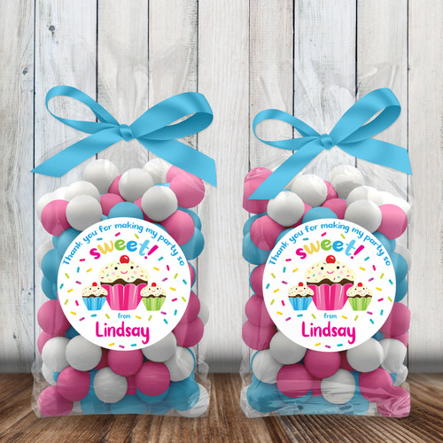 Personalized Party Favor Stickers: Sweet Sprinkles Cupcake