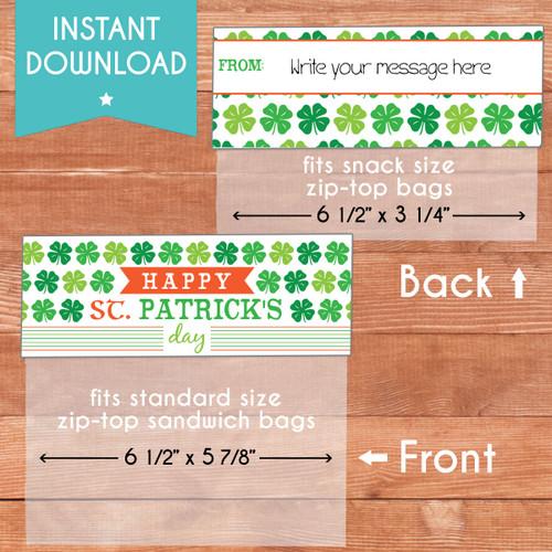 Printable Shamrockin' St. Patricks Day Bag Toppers (Instant Download)