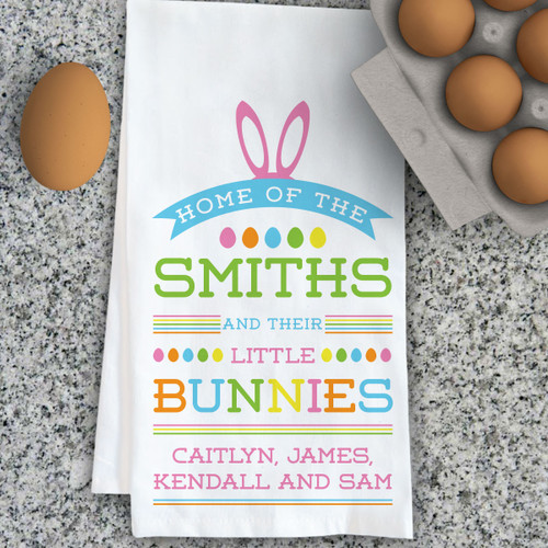 Personalized Little Bunnies Kitchen Towel
