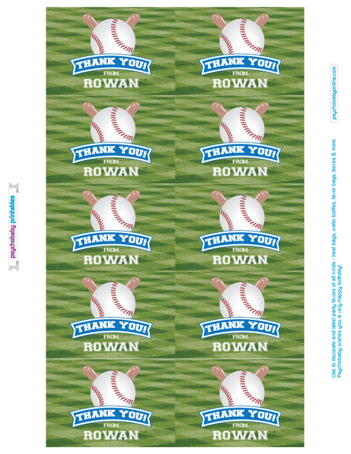 Personalized Baseball Birthday Favor Labels & Gable Boxes