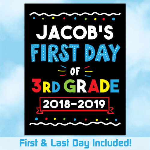 photograph relating to First Day of 3rd Grade Sign Printable identified as Tailored Printable To start with Ultimate Working day of Higher education Indication