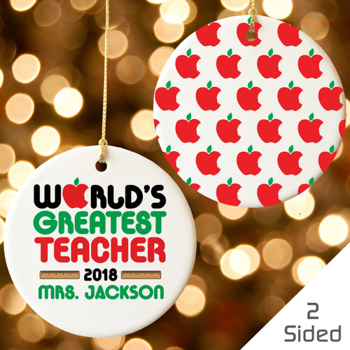 Personalized Greatest Teacher Christmas Ornament