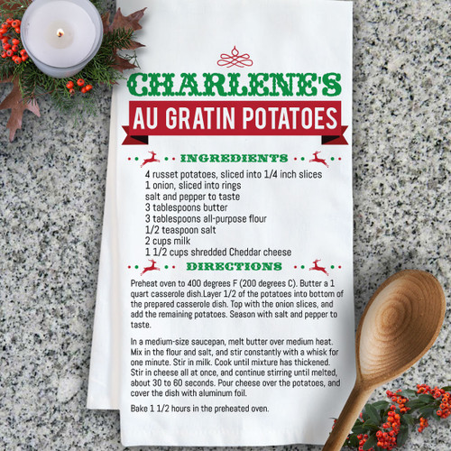 Personalized Christmas Family Recipe Kitchen Towel