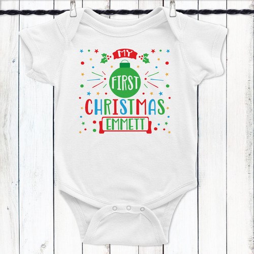Personalized My First Christmas Baby Shirt