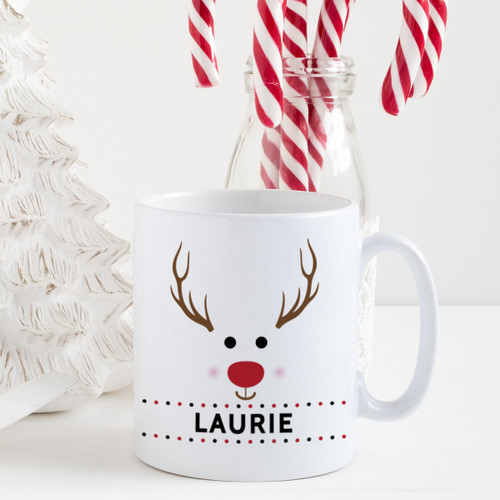 Personalized Red-Nosed Reindeer Christmas Mug