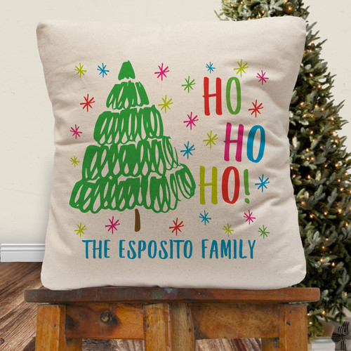 Personalized Cheerful Christmas Throw Pillow Cover