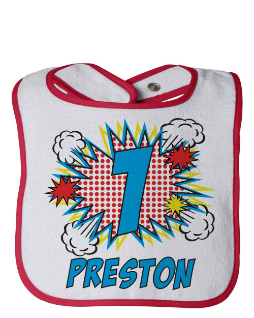 Personalized First Birthday Bib: Pop Art Red