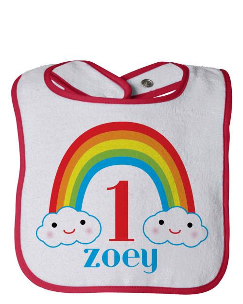 Personalized First Birthday Bib: Happy Little Rainbow