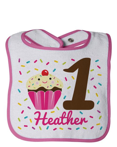 Personalized First Birthday Bib: Freshly Baked Cupcake