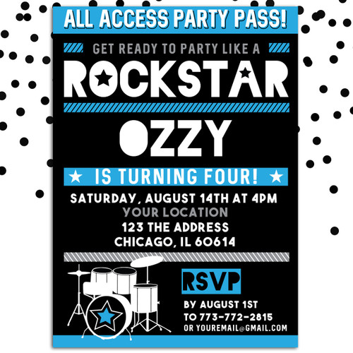 Personalized Kids Birthday Invitation Blue Rockstar
