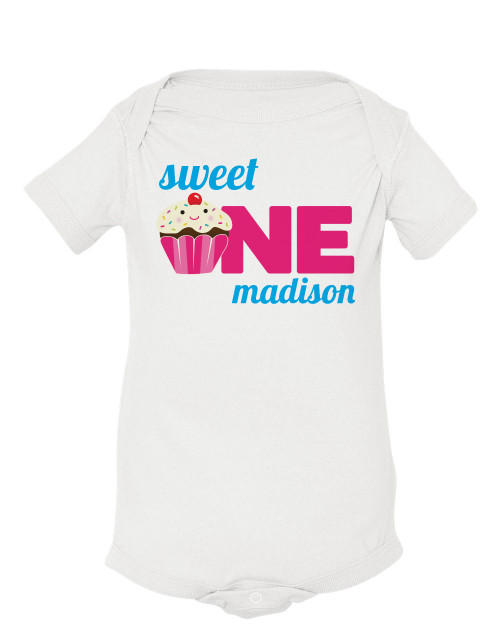 Personalized Sweet One Cupcake First Birthday T Shirt