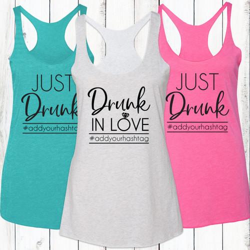Drunk In Love/Just Drunk Racerback Tank Top