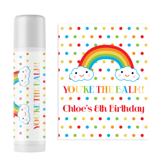 Personalized Happy Little Rainbow Lip Balm - Rainbow Birthday Party Favors