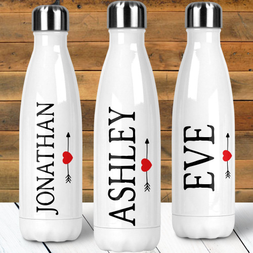 Personalized Classic Heart & Arrow Stainless Steel Water Bottle