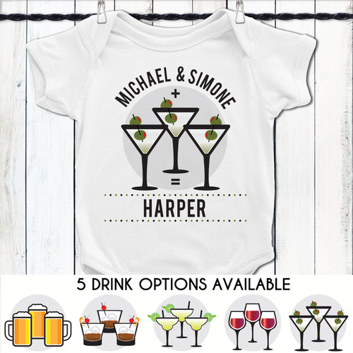 Personalized Mommy + Daddy + Drinks = Me Baby Shirt