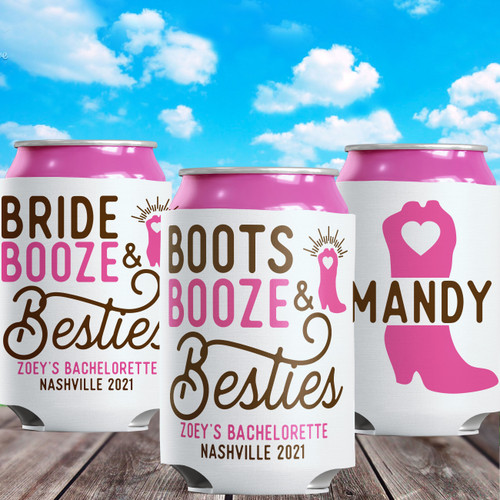 Personalized Rustic Country Western Cowboy Theme Bachelorette or Birthday - Custom Can Coolers for Nashville Party