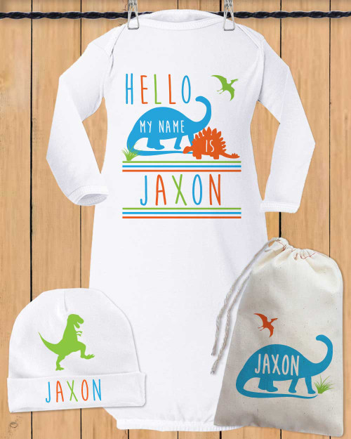 Personalized Hello Dino Baby Gown Set