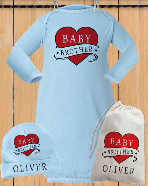 Personalized Baby Brother Gown Set