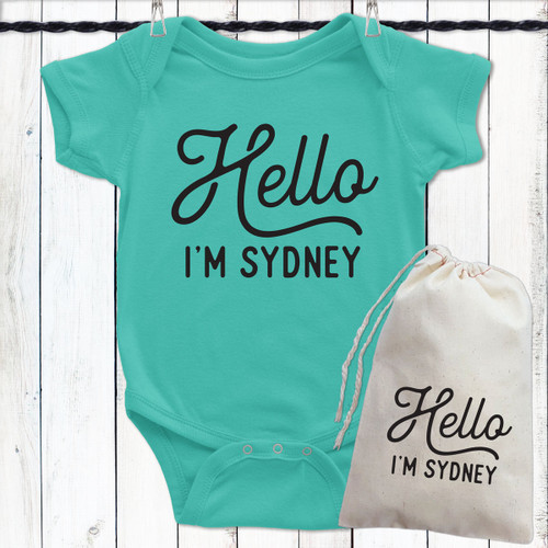 Personalized Baby Bodysuit - Hello I'm Name with Gift Bag - Caribbean Blue Green