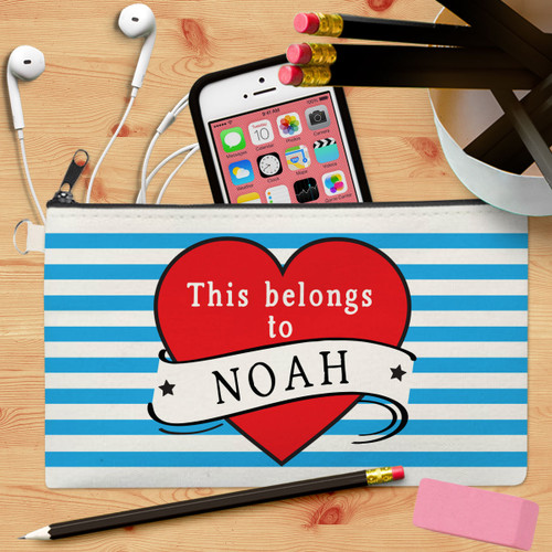 Personalized Tattoo Heart Kids Canvas Pencil Case