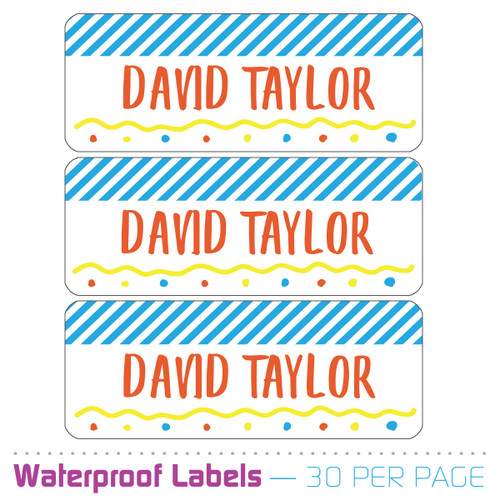 Personalized Name Labels: Party Time Blue
