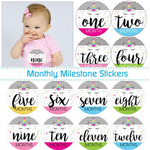 Monthly Milestone Baby Stickers: Magical Mod Unicorn