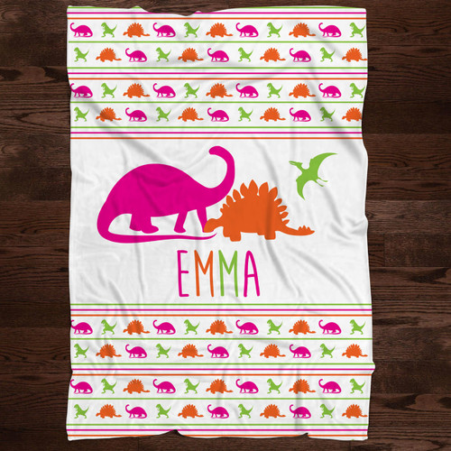 Personalized Dinosaur Blanket for Baby Girls and Toddler Girls