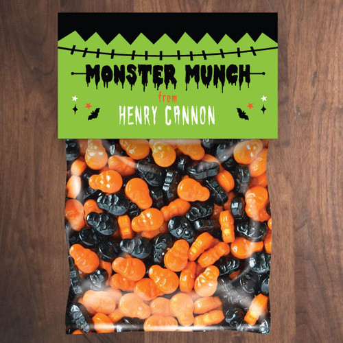 Personalized Frankenstein Monster Halloween Mini Favor Bag Kit