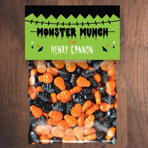Personalized Frankenstein Monster Halloween Mini Favor Bag Kit