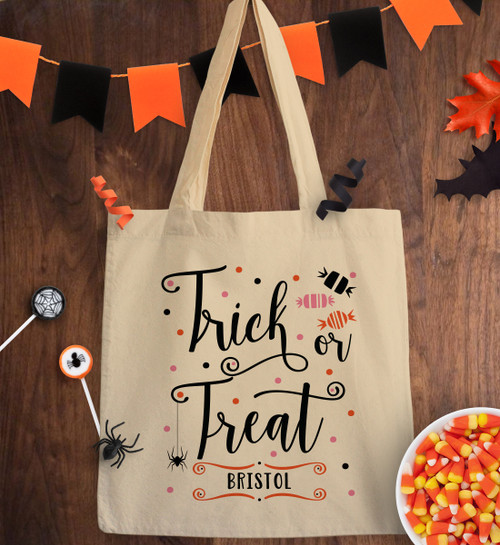 Halloween Trick Or Treat Bags Personalized.Personalized Creepy Crawly Trick Or Treat Bag