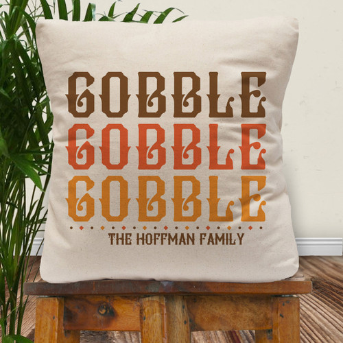 Personalized Gobble Gobble Thanksgiving Throw Pillow Cover