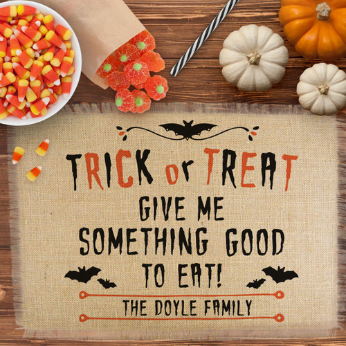 Personalized Trick or Treat Halloween Jute Placemat