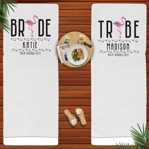 Custom Beach Towels:  Flamingo Bride Tribe Bachelorette Gifts