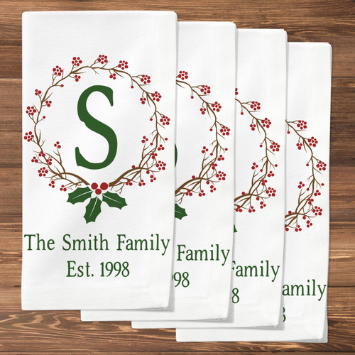 Personalized Holiday Holly Monogrammed Napkin Set