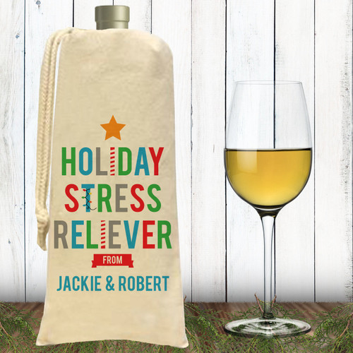 Custom Holiday Stress Reliever Christmas Canvas Wine Bag