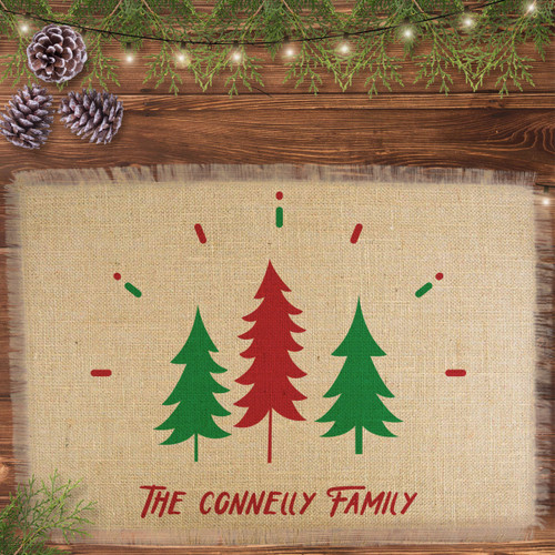 Personalized Holiday Spirit Christmas Jute Placemat