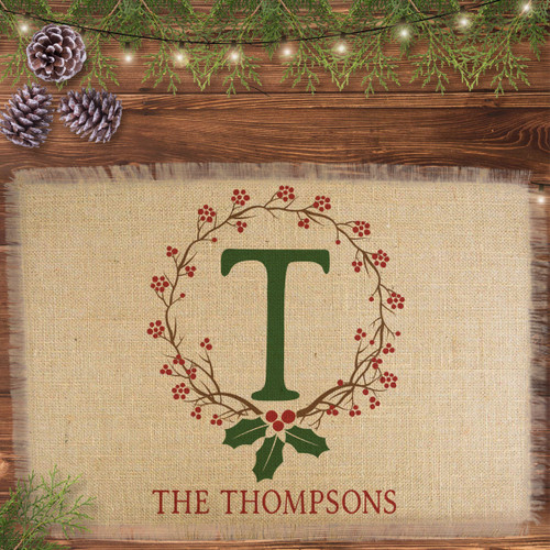 Personalized Holiday Holly Monogrammed Jute Placemat