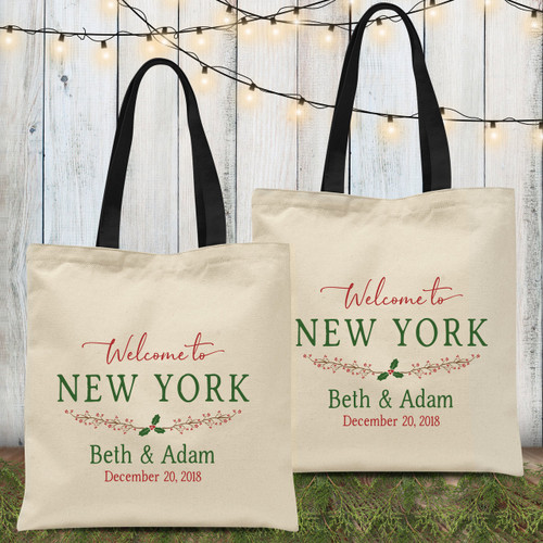 Custom Tote Bags: Holiday Holly Christmas Wedding Welcome Bag