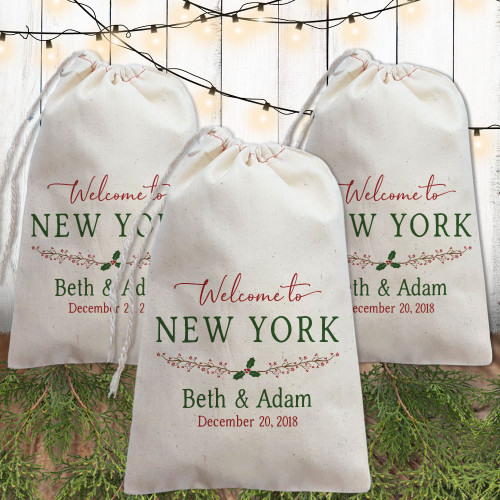 Custom Canvas Favor Bags: Holiday Holly Wedding Welcome