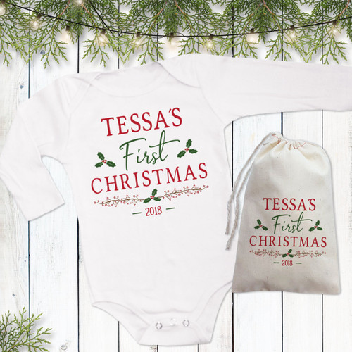Personalized Holiday Holly First Christmas Baby Shirt