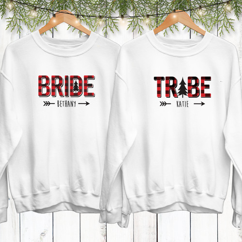 Plaid Bride Tribe Custom Bachelorette Party Sweatshirts - Personalized Flannel Fling Before the Ring Bachelorette Clothing