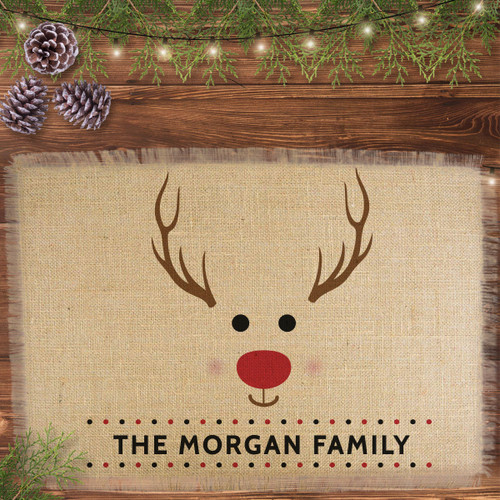 Personalized Red-Nosed Reindeer Jute Placemat