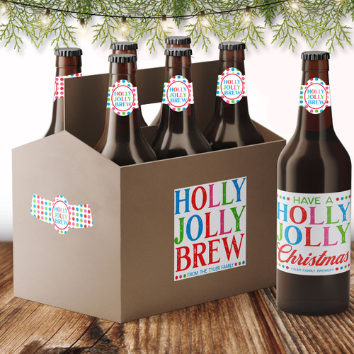 Personalized Holly Jolly Christmas Beer Labels